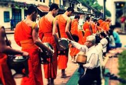 morning alms giving luang prabang