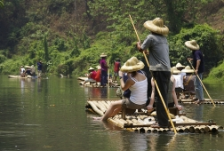 bamboo raft on mekong